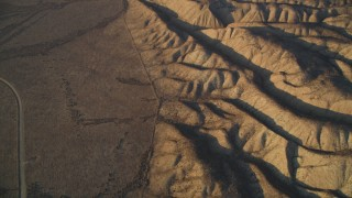 DCSF12_011 - Aerial stock footage of 5K Aerial Video Tilt from San Andreas Fault for a wider view of the fault, San Luis Obispo County, California