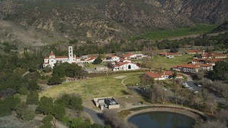 DFKSF01_014 - 5K stock footage aerial video of approaching Thomas Aquinas College, Santa Paula, California