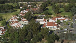 DFKSF01_021 - 5K stock footage aerial video of approaching the Ojai Valley Inn and Spa hotel, Ojai, California