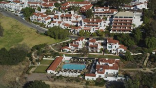 DFKSF01_022 - 5K stock footage aerial video of flying by the Ojai Valley Inn and Spa hotel in Ojai, California