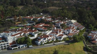 DFKSF01_023 - 5K stock footage aerial video of passing by the Ojai Valley Inn and Spa hotel in Ojai, California
