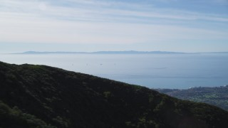 DFKSF01_035 - 5K stock footage aerial video flyby Santa Ynez Mountains with a view of Santa Barbara Channel, Santa Cruz Island, California