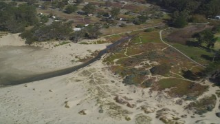 DFKSF02_034 - 5K stock footage aerial video of flying by a beachside golf course at Pismo Beach, California