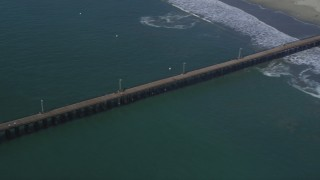 DFKSF02_049 - 5K stock footage aerial video flyby beach to reveal the pier at Avila Beach, California