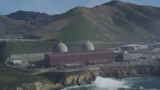 DFKSF02_076 - 5K stock footage aerial video of an orbit of the coastal Diablo Canyon Power Plant, Avila Beach, California