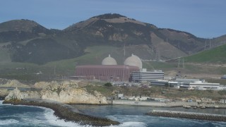 DFKSF02_078 - 5K stock footage aerial video flyby the coastal Diablo Canyon Power Plant, Avila Beach, California