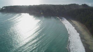 DFKSF03_053 - 5K stock footage aerial video of panning from a beach to trees by the ocean in San Simeon, California