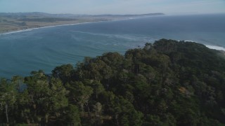 DFKSF03_054 - 5K stock footage aerial video of a view of San Simeon Bay and coastline, San Simeon, California