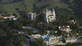 DFKSF03_068 - 5K stock footage aerial video of orbiting the Neptune Pool, west side of iconic Hearst Castle, San Simeon, California
