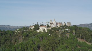 DFKSF03_070 - 5K stock footage aerial video of lying away from iconic Hearst Castle, San Simeon, California