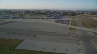 DFKSF03_140 - 5K stock footage aerial video of landing at the Salinas Municipal Airport, Salinas, California