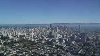 DFKSF05_013 - 5K stock footage aerial video of a wide view of skyscrapers and office buildings in Civic Center, Downtown San Francisco, California