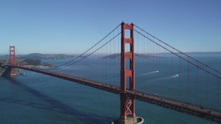 DFKSF05_040 - 5K stock footage aerial video approach and flyby one of the Golden Gate Bridge towers, San Francisco, California