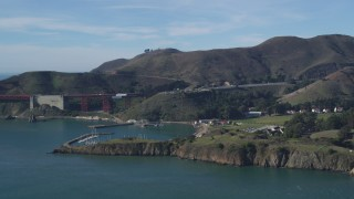 DFKSF05_043 - 5K stock footage aerial video of Horseshoe Bay marina and the Marin Hills, Saualito, California
