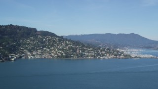 DFKSF05_045 - 5K stock footage aerial video of a view of Sausalito, California, seen from the bay