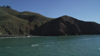 DFKSF05_046 - 5K stock footage aerial video approach and flyby coastal cliffs of the Marin Headlands, Marin County, California