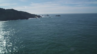 DFKSF05_058 - 5K stock footage aerial video of approaching Seal Rocks, San Francisco, California