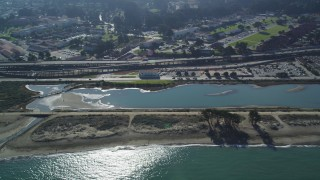 DFKSF05_066 - 5K stock footage aerial video of Crissy Field and Marsh, a city park in Marina District, San Francisco, California
