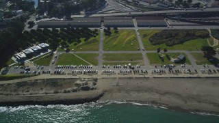 DFKSF05_067 - 5K stock footage aerial video of flying by Crissy Field city park and a marina in the Marina District, San Francisco, California