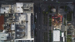DFKSF06_034 - 5K stock footage aerial video bird's eye view over Geary Street, Union Square, Downtown San Francisco, California