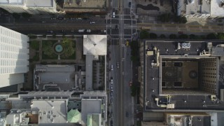 DFKSF06_043 - 5K stock footage aerial video of a bird's eye view of California Street, Huntington Park in Nob Hill, San Francisco, California