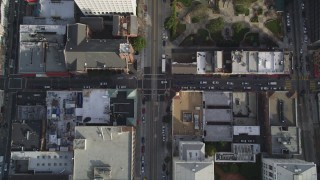 DFKSF06_044 - 5K stock footage aerial video of a bird's eye view of California Street in the city's Chinatown district, San Francisco, California