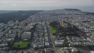 DFKSF06_053 - 5K stock footage aerial video of the University of San Francisco in Western Addition, California