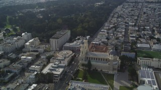 DFKSF06_054 - 5K stock footage aerial video pan from University of San Francisco to approach St. Ignatius Church, San Francisco, California
