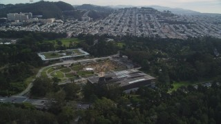 DFKSF06_060 - 5K stock footage aerial video of orbiting the museums and concourse in iconic Golden Gate Park, San Francisco, California