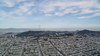 DFKSF06_067 - 5K stock footage aerial video of approaching the Sutro Tower from the Inner Sunset District, San Francisco, California