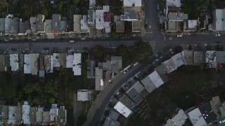 DFKSF06_071 - 5K stock footage aerial video of a bird's eye view of row houses and city streets in the Inner Sunset District, San Francisco, California