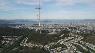 DFKSF06_076 - 5K stock footage aerial video fly away from iconic Sutro Tower, with a view across San Francisco, California