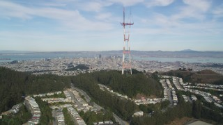 DFKSF06_077 - 5K stock footage aerial video flyby iconic Sutro Tower with views of downtown, San Francisco, California