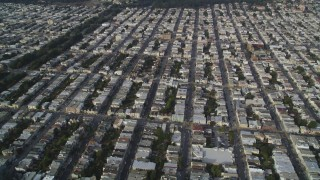 DFKSF06_081 - 5K stock footage aerial video fly over apartment buildings in the Inner Richmond District, San Francisco, California