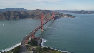 DFKSF06_086 - 5K stock footage aerial video of approaching the Golden Gate Bridge from The Presidio, San Francisco, California