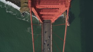DFKSF06_091 - 5K stock footage aerial video of a bird's eye view of traffic on the Marin side of Golden Gate Bridge, San Francisco, California
