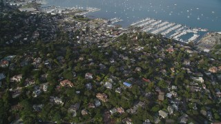 DFKSF06_094 - 5K stock footage aerial video approach Sausalito and Richardson Bay, Sausalito, California