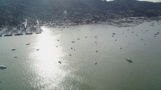 DFKSF06_097 - 5K stock footage aerial video flyby marinas and sailboats on Richardson Bay by Sausalito, California