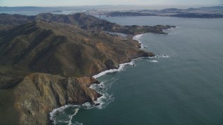 DFKSF06_152 - 5K stock footage aerial video of the Marin Headlands, San Francisco in the  distance, Marin County, California