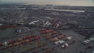 DFKSF06_187 - 5K stock footage aerial video of rows of shipping containers at the Port of Oakland, California