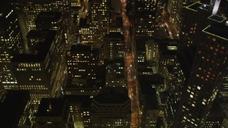 DFKSF07_013 - 5K stock footage aerial video of flying over Pine Street through Downtown San Francisco, California, night