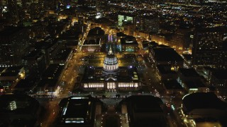 DFKSF07_052 - 5K stock footage aerial video of approaching San Francisco City Hall, Civic Center, San Francisco, California