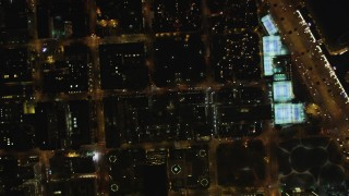 DFKSF07_069 - 5K stock footage aerial video of a bird's eye view of North Beach apartment, San Francisco, California, night