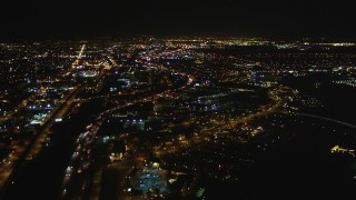 DFKSF07_087 - 5K stock footage aerial video of light traffic on the Interstate 880 freeway, Oakland, California, night