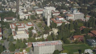 DFKSF08_006 - 5K stock footage aerial video of flying by the Sather Tower at University of California Berkeley, Berkeley, California