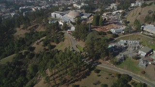 DFKSF08_012 - 5K stock footage aerial video of tilting from hills to reveal Lawrence Berkeley National Laboratory, Berkeley, California