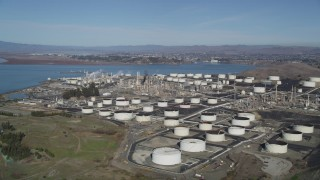 DFKSF08_023 - 5K stock footage aerial video of flying by the ConocoPhillips Oil Refinery, Rodeo, California