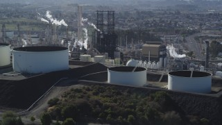 DFKSF08_027 - 5K stock footage aerial video of flying by the ConocoPhillips Oil Refinery, Rodeo, California
