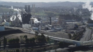 DFKSF08_028 - 5K stock footage aerial video of passing by the ConocoPhillips Oil Refinery, Rodeo, California