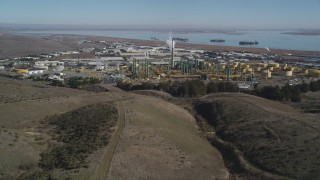 DFKSF08_046 - 5K stock footage aerial video of approaching the Valero Oil Refinery, Benicia, California